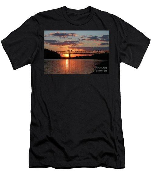 Utica Bridge At Sunset Men's T-Shirt (Athletic Fit)