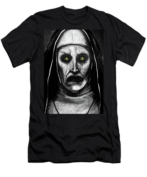 Men's T-Shirt (Slim Fit) featuring the digital art Valak The Demon Nun by Taylan Apukovska