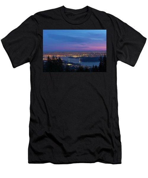 Vancouver Bc Cityscape Lions Gate Bridge Sunset Men's T-Shirt (Athletic Fit)