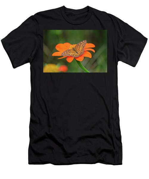 Variegated Fritillary On Flower Men's T-Shirt (Athletic Fit)