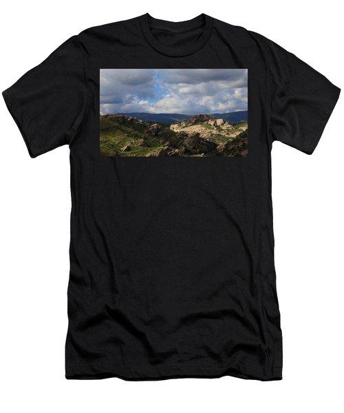 Vasquez Rocks Natural Area Men's T-Shirt (Slim Fit) by Viktor Savchenko