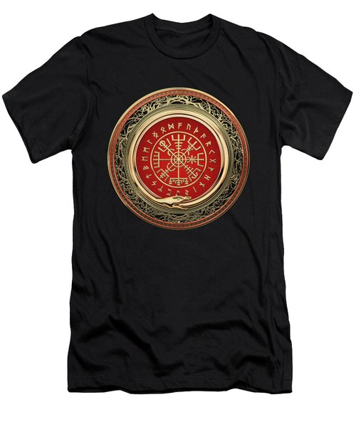 Vegvisir - A Gold Magic Viking Runic Compass On Black Leather Men's T-Shirt (Athletic Fit)