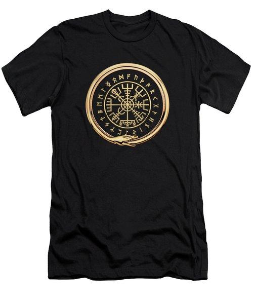 Vegvisir - A Magic Icelandic Viking Runic Compass - Gold On Black Men's T-Shirt (Athletic Fit)