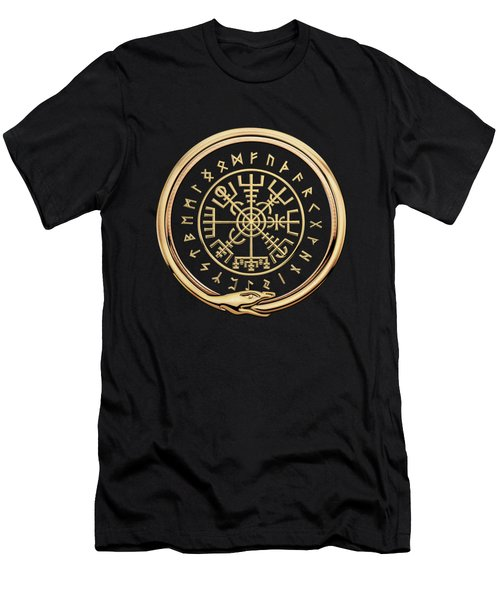 Vegvisir - A Magic Icelandic Viking Runic Compass - Gold On Black Men's T-Shirt (Athletic Fit)