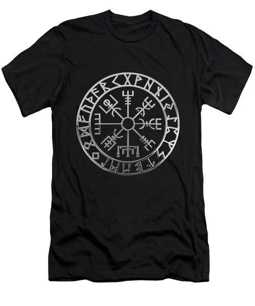 Vegvisir - A Magic Icelandic Viking Runic Compass - Silver On Black Men's T-Shirt (Slim Fit)