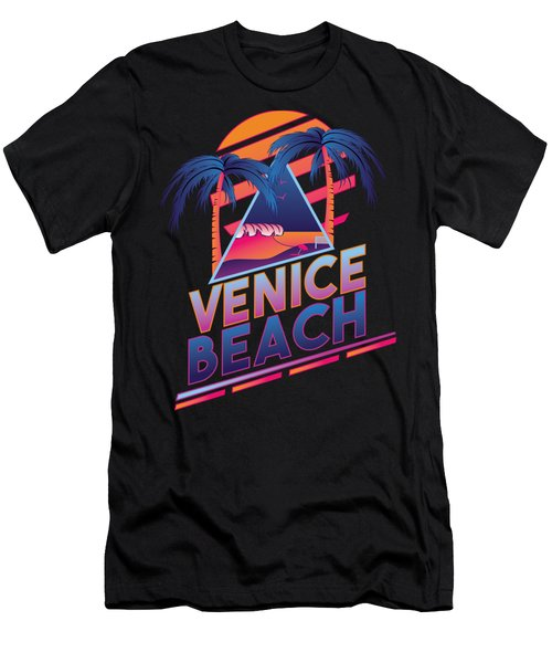 Venice Beach 80's Style Men's T-Shirt (Slim Fit) by Alek Cummings