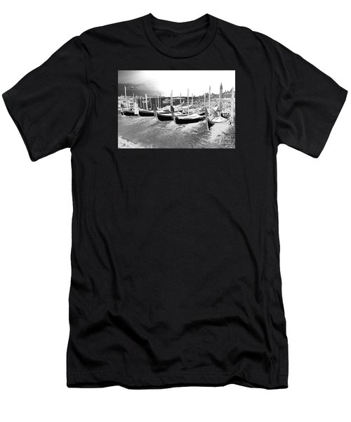Venice Gondolas Silver Men's T-Shirt (Slim Fit) by Rebecca Margraf