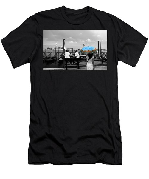 Men's T-Shirt (Slim Fit) featuring the photograph Venice Umbrella by Andrew Fare