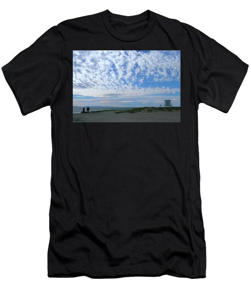 Ventura Beach With Blue Sky And  Puffy Clouds Men's T-Shirt (Athletic Fit)