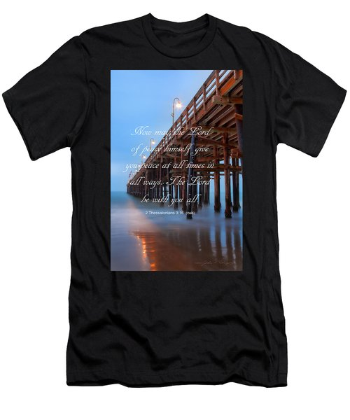 Ventura Ca Pier With Bible Verse Men's T-Shirt (Slim Fit) by John A Rodriguez