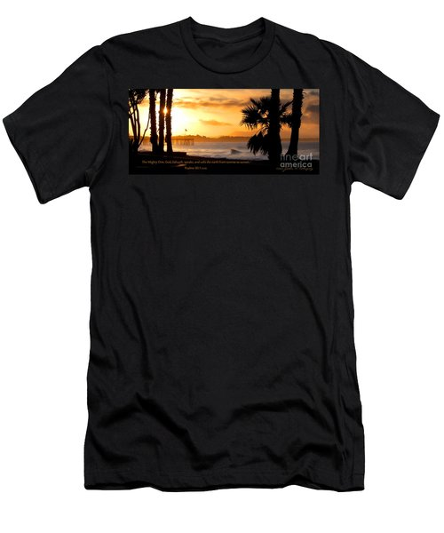 Men's T-Shirt (Slim Fit) featuring the photograph Ventura California Sunrise With Bible Verse by John A Rodriguez