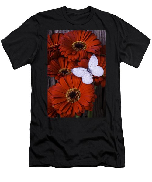 Very Red Daisies With Butterfly Men's T-Shirt (Athletic Fit)