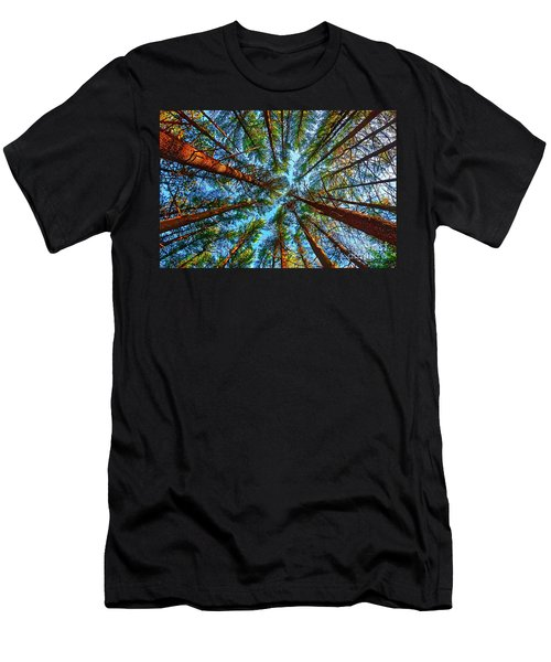 Men's T-Shirt (Athletic Fit) featuring the photograph  Veterans Acres Park Pine Grove by Tom Jelen