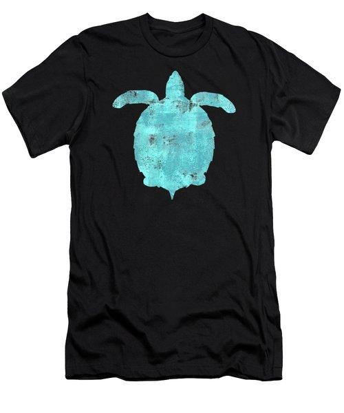 Vibrant Blue Sea Turtle Beach House Coastal Art Men's T-Shirt (Athletic Fit)