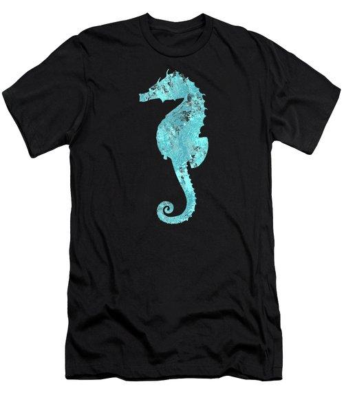 Vibrant Blue Seahorse Beach House Coastal Art Men's T-Shirt (Athletic Fit)
