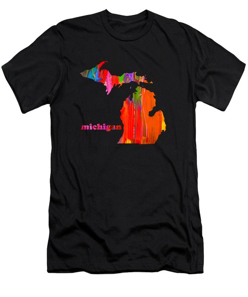 Vibrant Colorful Michigan State Map Painting Men's T-Shirt (Athletic Fit)