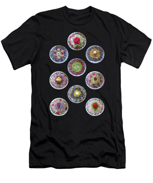 Men's T-Shirt (Slim Fit) featuring the photograph Vibrant Floating Flowers On Black by Gill Billington