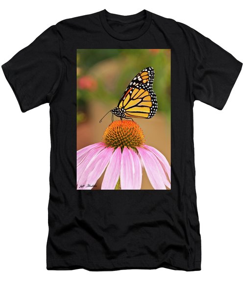 Monarch Butterfly On A Purple Coneflower Men's T-Shirt (Athletic Fit)