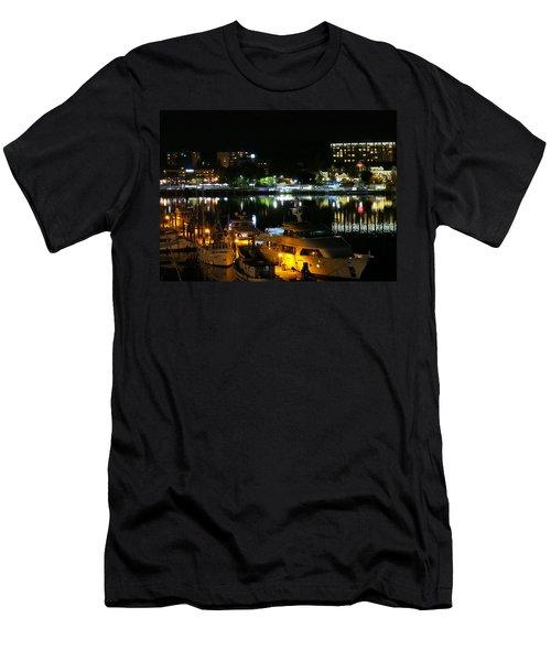 Victoria Inner Harbor At Night Men's T-Shirt (Athletic Fit)