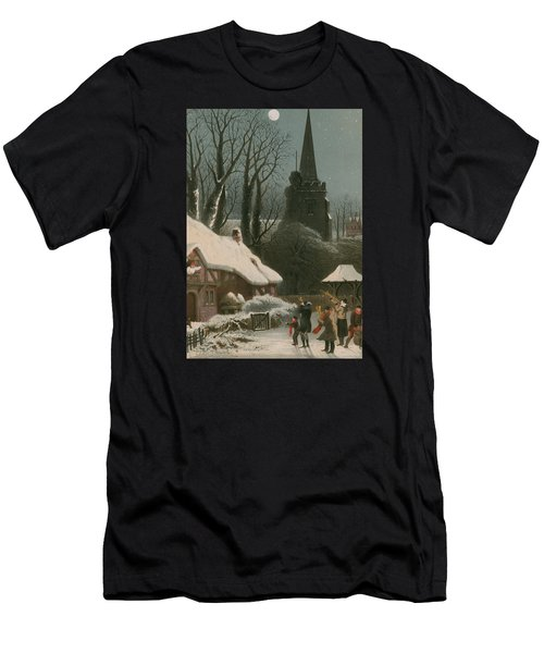 Victorian Christmas Scene With Band Playing In The Snow Men's T-Shirt (Athletic Fit)