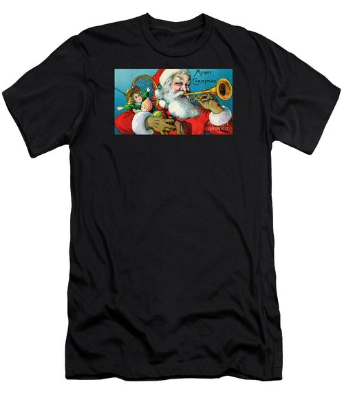 Victorian Illustration Of Santa Claus Holding Toys And Blowing On A Trumpet Men's T-Shirt (Athletic Fit)