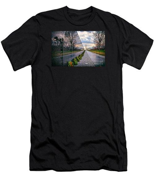 Vietnam War Memorial, Washington, Dc, Usa Men's T-Shirt (Slim Fit) by Sam Antonio Photography