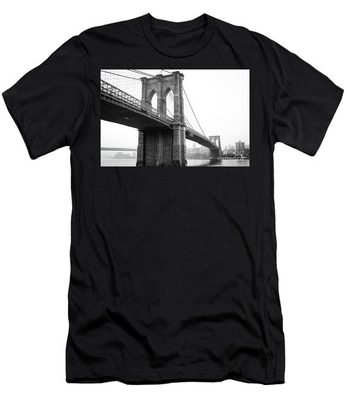 View Brooklyn Bridge With Foggy City In The Background Men's T-Shirt (Athletic Fit)
