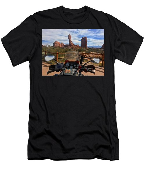 View From My Handelbars Of Balanced Rock In Arches National Park Men's T-Shirt (Athletic Fit)