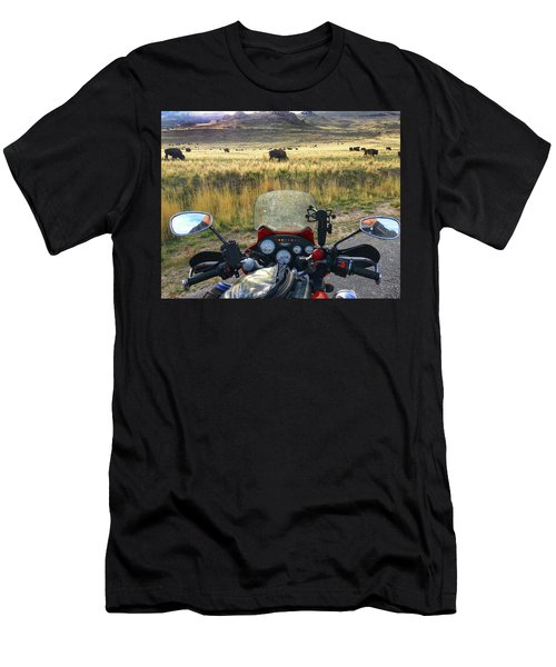 View From My Handlebars Of Buffalo On Antelope Island Men's T-Shirt (Athletic Fit)