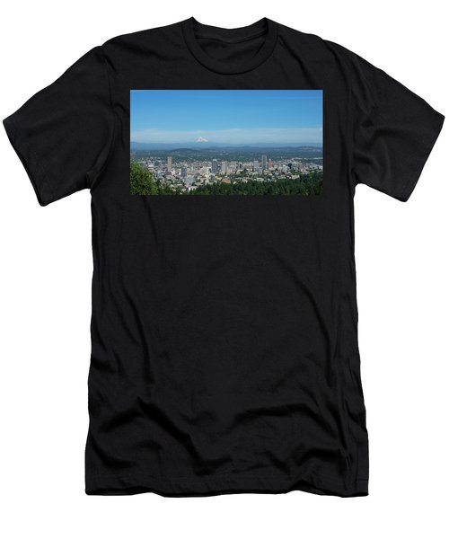 View Of Downtown Portland Oregon From Pittock Mansion Men's T-Shirt (Athletic Fit)