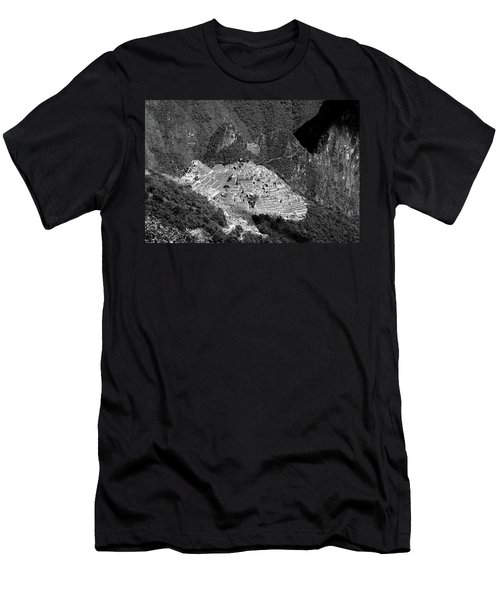 Men's T-Shirt (Athletic Fit) featuring the photograph View Of Machu Picchu From The Inca Trail by Aidan Moran