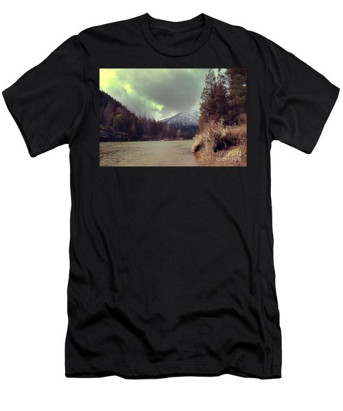 View On The Blackfoot River Men's T-Shirt (Slim Fit) by Janie Johnson
