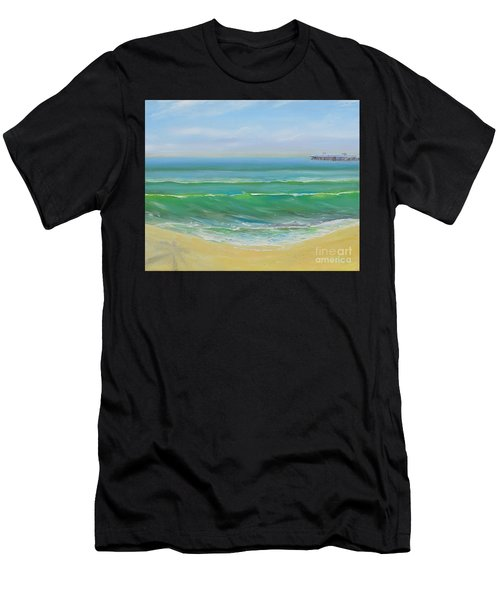 Men's T-Shirt (Athletic Fit) featuring the painting View To The Pier by Mary Scott
