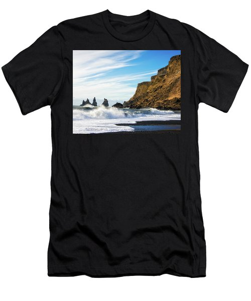 Men's T-Shirt (Slim Fit) featuring the photograph Vik Reynisdrangar Beach And Ocean Iceland by Matthias Hauser