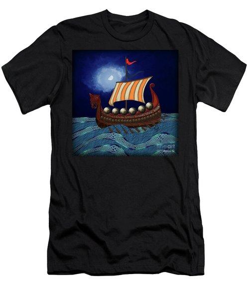 Men's T-Shirt (Athletic Fit) featuring the digital art Viking Ship by Megan Dirsa-DuBois