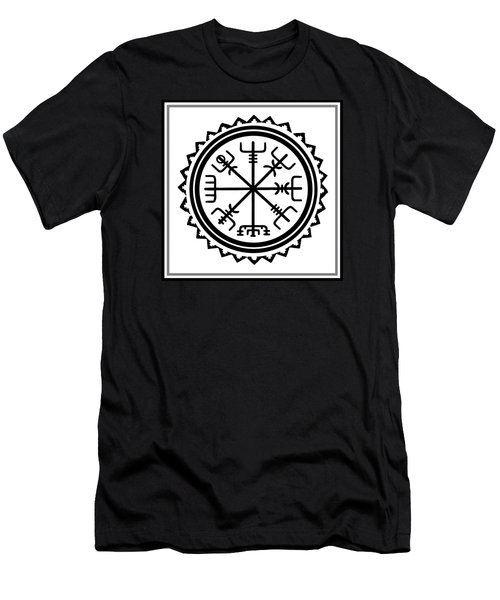 Men's T-Shirt (Athletic Fit) featuring the digital art Viking Vegvisir Protection Compass by Vagabond Folk Art - Virginia Vivier