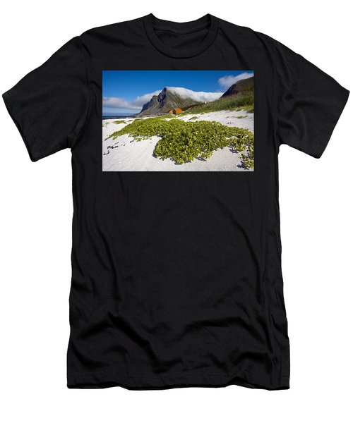 Vikten Beach With Green Grass, Mountains And Clouds Men's T-Shirt (Athletic Fit)
