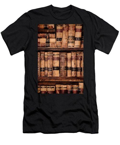Men's T-Shirt (Slim Fit) featuring the photograph Vintage American Law Books by Jill Battaglia