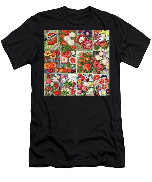 Vintage Childs Nursery Flower Seed Packets Mosaic  Men's T-Shirt (Athletic Fit)