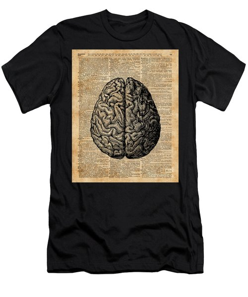 Vintage Human Anatomy Brain Illustration Dictionary Book Page Art Men's T-Shirt (Athletic Fit)