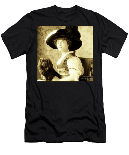 Vintage Lady With Lapdog Men's T-Shirt (Slim Fit) by Marian Cates