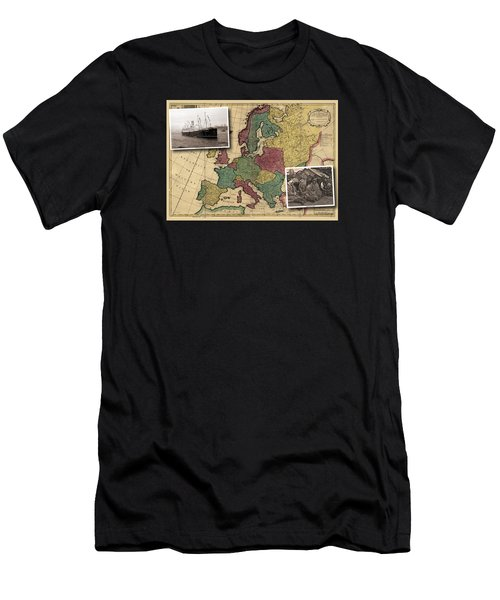 Vintage Map Europe Immigrants Men's T-Shirt (Athletic Fit)