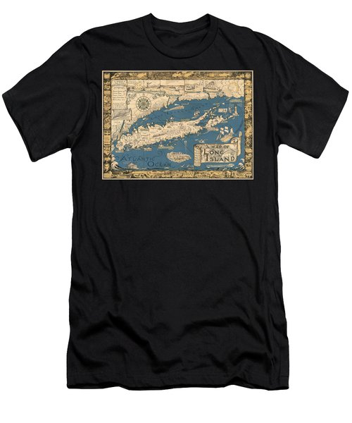 Vintage Map Of Long Island Men's T-Shirt (Athletic Fit)