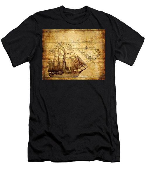 Vintage Ship Map Men's T-Shirt (Athletic Fit)