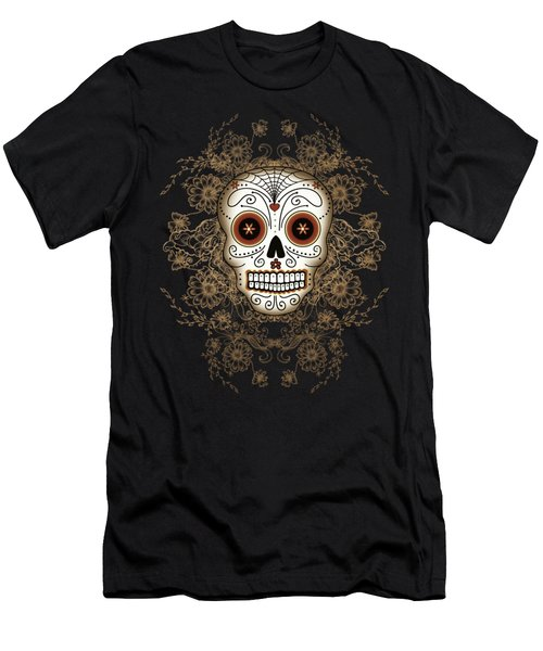 Vintage Sugar Skull Men's T-Shirt (Athletic Fit)