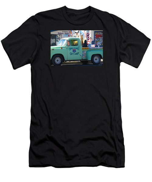 Vintage Truck With Elvis On Historic Route 66 Men's T-Shirt (Athletic Fit)