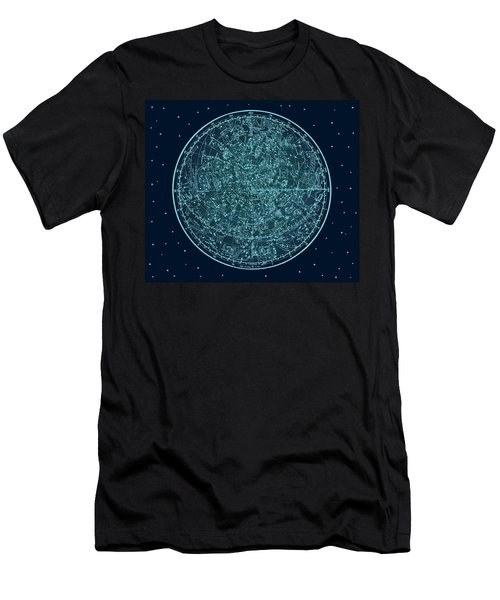 Men's T-Shirt (Athletic Fit) featuring the digital art Vintage Zodiac Map - Teal Blue by Marianna Mills