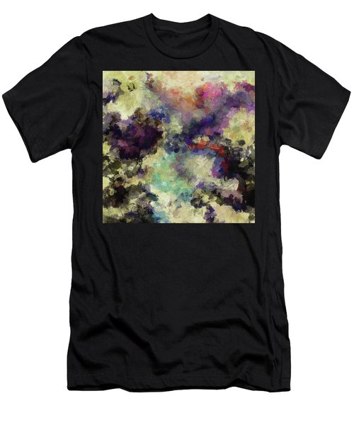 Men's T-Shirt (Slim Fit) featuring the painting Violet Landscape Painting by Ayse Deniz
