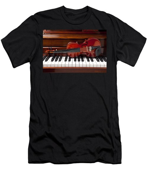 Violin On Piano Men's T-Shirt (Athletic Fit)