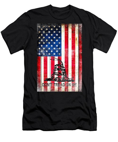 Viper On American Flag On Old Wood Planks Vertical Men's T-Shirt (Slim Fit) by M L C